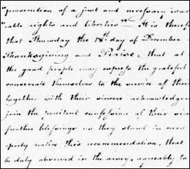 Washington's Order for a Day of Thanksgiving after Saratoga