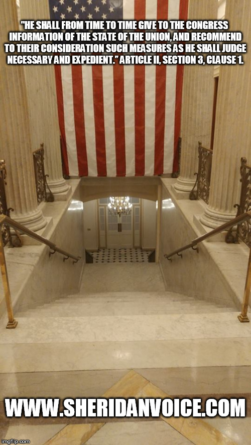 The stairway the President walks down to meet with Congress for the State of the Union.